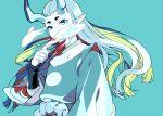 1boy aqua_background aqua_eyes aqua_horns aqua_skin covered_mouth dated floating_hair hand_up horns long_hair long_sleeves looking_at_viewer pointy_ears rope simple_background solo the_legend_of_luo_xiaohei twitter_username vox xuhuai_(the_legend_of_luoxiaohei)