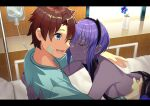 1boy 1girl :d ass bandages bed beppu_mitsunaka black_hairband blue_eyes blue_flower breasts brown_hair closed_mouth command_spell commentary_request crying dark-skinned_female dark_skin fate/grand_order fate_(series) flower fujimaru_ritsuka_(male) hairband happy hassan_of_serenity_(fate) highres horned_headwear hospital_bed hug intravenous_drip letterboxed open_mouth purple_hair short_hair sideboob sidelocks smile tears window