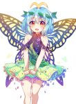 1girl :d absurdres antennae bangs bare_shoulders blue_flower blue_hair blush brown_eyes butterfly_wings caramell0501 commentary dress eternity_larva eyebrows_visible_through_hair feet_out_of_frame flower green_dress hair_between_eyes hair_ornament highres leaf_hair_ornament looking_at_viewer open_mouth purple_flower simple_background smile solo symbol_commentary touhou white_background wings