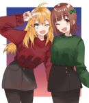2girls ;d ahoge amami_haruka black_skirt blonde_hair border bow brown_eyes brown_hair gradient gradient_background green_bow green_eyes green_sweater hair_bow highres hoshii_miki idolmaster idolmaster_(classic) long_hair long_sleeves looking_at_viewer matching_outfit miniskirt multicolored multicolored_background multiple_girls nail_polish one_eye_closed open_mouth outside_border pantyhose pose red_nails red_sweater short_hair side-by-side skirt smile standing sweater v white_border zono_(inokura_syuzo029)