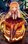 1girl :d animal bamboo_broom bangs bat bat_wings blonde_hair blurry blurry_background boots bow broom brown_bow brown_footwear brown_skirt brown_vest building candy commentary_request cross-laced_footwear depth_of_field eyebrows_visible_through_hair fang fingernails flower food frills full_body glowing granblue_fantasy halloween hand_up head_tilt head_wings high_heel_boots high_heels holding holding_candy holding_food holding_lantern holding_lollipop jack-o'-lantern lace-up_boots lantern lollipop long_hair marisayaka nail_polish night open_mouth outdoors pantyhose petticoat pleated_skirt pointy_ears puffy_short_sleeves puffy_sleeves red_eyes red_flower red_nails red_rose red_wings revision rose shingeki_no_bahamut shirt short_sleeves sitting skirt smile solo striped striped_legwear swirl_lollipop vampy very_long_hair vest white_shirt window wings