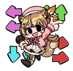 1girl arrow_(symbol) ayunda_risu bangs beret black_eyes blush brown_hair chibi friday_night_funkin' gunouflage hat holding holding_microphone hololive hololive_indonesia microphone open_mouth parody pink_headwear smile solo squirrel_girl squirrel_tail style_parody tail tied_hair virtual_youtuber white_background