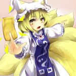 1girl animal_ears between_fingers blonde_hair blush breasts clip_studio_paint_(medium) cowboy_shot dress foreshortening fox_ears fox_tail hat large_breasts looking_at_viewer multilpe_tails pillow_hat pink_background piyodesu short_hair simple_background solo tabard tail touhou v-shaped_eyebrows white_dress yakumo_ran yellow_eyes
