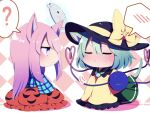 ? all_fours animal_ears aqua_shirt bow bubble_skirt cat_ears cat_tail checkered checkered_background chibi closed_eyes eyebrows_visible_through_hair from_side full_body green_hair half-closed_eyes hat hat_bow hata_no_kokoro heart heart_of_string highres kiss_day komeiji_koishi long_hair long_sleeves mask pink_eyes pink_hair plaid plaid_shirt red_skirt shirt short_hair sitting skirt spoken_blush spoken_question_mark tail third_eye touhou white_background wide_sleeves yellow_bow you_(noanoamoemoe)