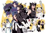 4boys animal_ears arrow_(symbol) baseball_bat black_hair black_tank_top blue_hair cat_boy cat_ears cat_tail fang fengxi_(the_legend_of_luoxiaohei) green_eyes hand_up hands_in_pockets index_finger_raised layered_sleeves long_hair long_sleeves luoxiaohei multiple_boys multiple_persona open_mouth outline profile purple_hair scar short_hair short_over_long_sleeves short_sleeves smile tail tank_top the_legend_of_luo_xiaohei translation_request violet_eyes vox white_hair white_outline wuxian_(the_legend_of_luoxiaohei)