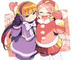 2girls arms_up bangs black_gloves cowboy_shot dated earmuffs gloves long_hair luoxiaobai multiple_girls open_mouth orange_eyes orange_hair pantyhose pink_hair pleated_skirt red_mittens red_skirt shanxin_(the_legend_of_luoxiaohei) skirt smile the_legend_of_luo_xiaohei thumbs_up twitter_username vox white_legwear