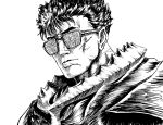 1boy armor berserk berserker_armor closed_mouth commentary english_commentary face glasses grass guts_(berserk) highres looking_at_viewer short_hair simple_background solo substance20 white_background