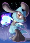 :t absurdres closed_mouth commentary_request from_below full_body gen_4_pokemon glowing hatoro_kuroyoshi highres incoming_attack legs_apart looking_at_viewer pokemon pokemon_(creature) red_eyes riolu solo standing toes