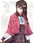 1girl blue_eyes blue_neckwear blush bow braid brown_hair casual collared_capelet collared_dress dress facing_away hair_between_eyes hair_bow hair_over_shoulder kantai_collection long_hair long_sleeves looking_to_the_side necktie outdoors pink_capelet plaid plaid_dress polka_dot polka_dot_bow saruno_(eyesonly712) shigure_(kancolle) single_braid smile solo unbuttoned