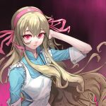 1girl apron blonde_hair blue_dress curly_hair dress frilled_apron frills hair_between_eyes hairband hand_on_own_head kagerou_project key_necklace kozakura_marry long_hair pengpeng_dohyung pink_eyes pink_hairband pink_ribbon red_eyes ribbon solo upper_body very_long_hair white_apron