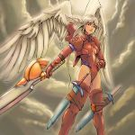 altima bodysuit breasts cleavage final_fantasy final_fantasy_tactics hand_on_hip head_wings headwings momigara_(mmgrkmnk) nawashiro ozzio red_eyes sideboob solo sword thigh-highs thighhighs ultima_(fft) weapon white_hair wings