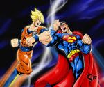 alien crossover dc_comics dragonball dragonball_z epic kryptonian motion_blur muscle s_shield son_goku super_saiyan superman