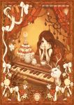 brown_hair cake cat elaborate_frame flower food frame instrument pastry piano short_hair