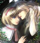 alice_margatroid blonde_hair blue_eyes eyes headband kirisame_marisa licking multiple_girls nature takashima tears touhou yuri