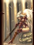 altima bodysuit final_fantasy final_fantasy_tactics head_wings headwings legs long_legs momigara_(mmgrkmnk) nawashiro ozzio solo sword thigh-highs thighhighs thighs ultima_(fft) weapon white_hair wings