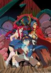 armpits bandages belt bikini_top blue_hair boota boots breasts cape chest cleavage crossed_arms drill fighting_stance frown gainaxtop glowing grin gun gurren-lagann hair_ornament jacket jewelry kamina kamina_shades knee_boots long_hair manly mecha muscle necklace official_art open_clothes open_jacket pendant pink_legwear pointing ponytail red_hair rifle sash scarf short_hair short_shorts shorts simon smile spread_legs squatting standing striped studded_belt sunglasses sunglasses_on_head tattoo tengen_toppa_gurren_lagann thighhighs torn_clothes very_long_hair watanabe_keisuke weapon yellow_eyes yoko_littner yoko_ritona zettai_ryouiki