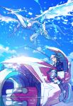 1boy black_hair blonde_hair blue_eyes blue_sky boots dragon driving duel_monster ebira facial_tattoo fudou_yuusei ground_vehicle jacket lens_flare male_focus motor_vehicle motorcycle multicolored_hair open_clothes open_jacket pants sky spiky_hair stardust_dragon streaked_hair tattoo two-tone_hair yu-gi-oh! yu-gi-oh!_5d's