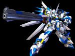 3d arm_cannon black_background glowing glowing_eye green_eyes gun highres holding holding_gun holding_weapon mecha mechanical_wings no_humans open_hand science_fiction super_robot_wars super_robot_wars_original_generation weapon weissritter wings yugo_ama_toki