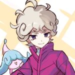 1boy ahoge bangs bede_(pokemon) blonde_hair coat creature curly_hair eyelashes gen_8_pokemon hatenna looking_at_viewer male_focus parted_lips pokemon pokemon_(creature) pokemon_(game) pokemon_on_arm pokemon_swsh popped_collar purple_coat short_hair sketch smile tpi_ri upper_body