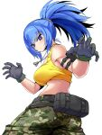 1girl ammunition_pouch armlet ass attack bare_shoulders blue_eyes blue_hair breasts camouflage camouflage_pants commentary_request dog_tags earrings gloves highres jewelry kara_age leona_heidern looking_at_viewer midriff pants paw_pose ponytail pouch sideboob simple_background sleeveless solo tank_top the_king_of_fighters the_king_of_fighters_xiv the_king_of_fighters_xv twisted_torso white_background yellow_tank_top