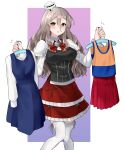 1girl absurdres brown_eyes clothes_hanger commentary_request corset cowboy_shot grey_hair hair_between_eyes hat highres holding holding_clothes kantai_collection looking_at_viewer mini_hat miniskirt pola_(kancolle) red_skirt shirt skirt solo thick_eyebrows thigh-highs tilted_headwear toriniku_senshi_chikinman two-tone_background wavy_hair white_background white_legwear white_shirt