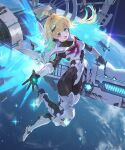 1girl ahoge blonde_hair blue_eyes commentary_request dress fang full_body hair_ornament headphones igarashi_youhei long_hair looking_at_viewer multicolored_hair official_art open_mouth planet railgun reaching_out shadowverse solo space space_station sparkle weapon