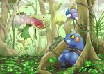 absurdres against_tree black_eyes carnivine colored_sclera croagunk crossed_arms day gen_4_pokemon highres no_humans open_mouth outdoors plant pokemon pokemon_(creature) powder q-chan skorupi sunlight tree yellow_sclera