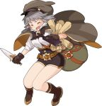 1girl artist_request bag bangs belt between_breasts black_neckwear black_shorts blush book bow bowtie breasts brown_cape brown_gloves brown_headwear brown_legwear cabbie_hat cape closed_eyes dagger full_body fur_collar gloves gold_trim grey_hair hand_up hat high-waist_shorts high_heels highres holding holding_book holding_dagger holding_weapon kneehighs knees_together_feet_apart light_blush long_sleeves luluca_(world_flipper) medium_breasts medium_hair non-web_source official_art open_mouth orange_footwear quill sack scroll sheath shiny shiny_hair shirt shirt_tucked_in shoes short_shorts shorts shoulder_bag side_slit sidelocks sleeves_rolled_up solo standing strap_between_breasts tears transparent_background two-sided_cape two-sided_fabric v-shaped_eyebrows weapon white_shirt world_flipper