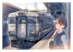 1girl bag blue_eyes blush border bow brown_hair daito day ground_vehicle looking_at_viewer original outdoors red_bow shirt short_hair smile solo sweater_vest train upper_body white_border white_shirt