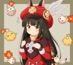 animal animal_ears azur_lane backpack bag bag_charm bangs bird black_hair blush cabbie_hat charm_(object) chick closed_mouth commentary_request cosplay dress ears_through_headwear eyebrows_visible_through_hair feathers flying_sweatdrops fox_ears genshin_impact hands_up hat hat_feather holding_strap klee_(genshin_impact) klee_(genshin_impact)_(cosplay) long_hair long_sleeves manjuu_(azur_lane) miicha nagato_(azur_lane) red_dress red_headwear twitter_username upper_body very_long_hair wavy_mouth white_feathers yellow_eyes