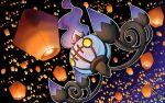 chandelure fire full_body gen_5_pokemon gradient gradient_background lantern no_humans paper_lantern pokemon q-chan simple_background solo yellow_eyes
