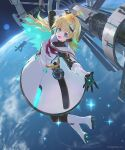 1girl ahoge blonde_hair blue_eyes commentary_request dress fang full_body hair_ornament igarashi_youhei long_hair looking_at_viewer multicolored_hair official_art open_mouth planet reaching_out shadowverse solo space space_station sparkle