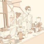 1boy 1girl coffee_maker_(object) counter cup earrings glasses hair_bun highres holding holding_cup jewelry long_sleeves monochrome naoyuzuhiko original profile sepia shirt sink upper_body