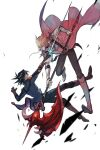 2boys black_hair blonde_hair blue_jacket boots brown_footwear duel earrings ebira falling fudou_yuusei gloves highres holding holding_polearm holding_sword holding_weapon jack_atlas jacket jewelry male_focus multiple_boys open_clothes open_jacket pants pink_eyes polearm red_dragon_archfiend short_hair spiky_hair stardust_dragon sword weapon white_background white_footwear white_jacket yu-gi-oh! yu-gi-oh!_5d's