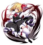 1girl ascot bangs black_skirt black_vest blonde_hair brown_footwear closed_mouth eyebrows_visible_through_hair full_body hair_ribbon highres kuroshirase long_sleeves looking_at_viewer medium_hair outstretched_arms pointy_ears red_eyes red_neckwear red_ribbon ribbon rumia shirt simple_background skirt smile solo spread_arms standing standing_on_one_leg thigh-highs touhou vest white_background white_legwear white_shirt