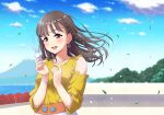 1girl bracelet breasts brown_eyes brown_hair clouds cloudy_sky collarbone commentary detached_sleeves earrings eyebrows_visible_through_hair feathers holding holding_feather inami_anju jewelry leaves_in_wind long_hair love_live! love_live!_sunshine!! medium_breasts necklace qy73 real_life seiyuu seiyuu_connection shiny shiny_hair side_brain sky solo