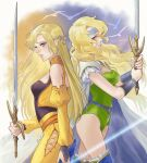 2girls alternate_costume armor back-to-back blonde_hair blue_eyes blue_headband cape celes_chere closed_mouth dual_persona earrings final_fantasy final_fantasy_vi hair_ornament headband holding holding_sword holding_weapon jewelry leotard multiple_girls pants regan_(hatsumi) shoulder_armor strapless strapless_leotard sword thighs vest weapon white_cape yellow_pants yellow_vest