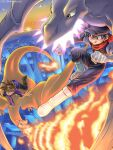 2boys :q aerodactyl bangs black_hair blue_oak boots breathing_fire brown_footwear brown_hair charizard city clenched_hands closed_mouth commentary_request fire gen_1_pokemon gloves grey_headwear grey_pants hat highres jacket kibisakura2 male_focus multiple_boys outdoors pants pokemon pokemon_adventures purple_shirt red_(pokemon) red_scarf riding_pokemon scarf shirt smile spiky_hair tongue tongue_out white_footwear white_gloves