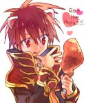 1boy :q animal_ears arutopian bangs black_coat brown_hair cat_ears chicken_leg coat commentary_request cross cross_necklace english_text eyebrows_visible_through_hair food hair_between_eyes heart holding holding_food jewelry long_sleeves male_focus meat necklace open_clothes open_coat priest_(ragnarok_online) ragnarok_online red_coat red_eyes short_hair simple_background solo tongue tongue_out two-tone_coat upper_body white_background