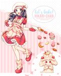 1girl :d alcremie alcremie_(strawberry_sweet) apron black_hair blue_eyes blush buttons character_name commentary dawn_(pokemon) dress eyelashes food frills fruit gen_8_pokemon highres holding holding_ladle knees ladle long_hair loose_socks open_mouth pokemon pokemon_(creature) pokemon_(game) pokemon_masters_ex red_dress red_footwear shoes short_sleeves smile snowsakurachan strawberry tongue tray valentine yellow_legwear