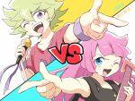 1boy 1girl dehaicou green_hair kamijou_haruka kirishima_roa kirishima_romin long_hair pink_hair spiky_hair yuu-gi-ou yuu-gi-ou_sevens
