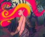 1girl absurdres ass blackantivenom borrowed_character brenna_(akairiot) colored_sclera colored_skin cowboy_shot fiery_hair highres original outdoors pink_skin plant pointy_ears profile red_eyes smile solo tree yellow_sclera