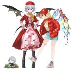 adapted_costume alternate_costume bat_wings belt beret blood bloody_clothes blouse blue_hair coat crystal denim denim_skirt doll dress flandre_scarlet flower grass hands_on_hips hat highres izayoi_sakuya jacket jichou_senshi leather_belt long_sleeves neckerchief open_clothes open_coat pink_dress red_coat red_eyes red_headwear red_jacket remilia_scarlet shoes short_hair skirt sneakers socks touhou white_headwear wings yellow_blouse yellow_neckwear
