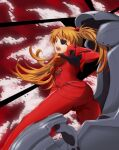 ass blue_eyes breasts brown_hair clouds cockpit dress eva_02 evangelion:_3.0_you_can_(not)_redo eyepatch hair_ornament long_hair murata_isshin neon_genesis_evangelion open_mouth pilot_chair pilot_suit plugsuit reaching_out rebuild_of_evangelion red_dress red_sky sky solo souryuu_asuka_langley spread_legs teenage teeth tight tight_dress