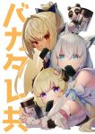 3girls absurdres ahoge animal_ear_fluff animal_ears bangs blonde_hair bow braid can commentary_request detached_sleeves earrings eyebrows_visible_through_hair food_in_mouth fox_ears fox_girl fur_trim green_eyes hair_between_eyes hair_bow hair_intakes hair_ornament hairclip highres holding holding_can hololive hood hoodie horns hug hug_from_behind jewelry kintsuba_(shiranui_flare) long_hair looking_at_viewer lying multiple_girls namazu_(dc_27546) on_stomach pointy_ears ponytail red_eyes seaweed sheep_girl sheep_horns shirakami_fubuki shiranui_flare sidelocks simple_background single_braid translation_request tsunomaki_watame violet_eyes virtual_youtuber white_background white_hair white_hoodie