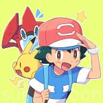 1boy :d ame_(ame025) ash_ketchum backpack bag bangs baseball_cap bright_pupils brown_eyes commentary_request copyright_name gen_1_pokemon gen_4_pokemon green_background green_hair hat holding_strap male_focus open_mouth outline pikachu pokemon pokemon_(anime) pokemon_sm_(anime) red_headwear rotom rotom_dex shirt short_hair short_sleeves smile star_(symbol) striped striped_shirt t-shirt white_pupils z-ring