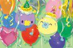alternate_color balloon closed_eyes confetti drifloon gatao gen_4_pokemon green_headwear hat hatted_pokemon no_humans pokemon pokemon_(creature) shiny_pokemon signature smile symbol_commentary |d