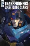 1boy absurdres autobot blurr broken_glass comic_cover copyright_name cover cover_page glass highres logo mecha no_humans official_art one_eye_covered parted_lips red_eyes sara_p-d scar scar_across_eye science_fiction solo the_transformers_(idw) transformers transformers_shattered_glass
