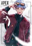 1girl apex_legends black_pants black_sweater blue_nails bomber_jacket copyright_name eyewear_on_head grey_hair jacket logo looking_at_viewer pants parted_lips red_jacket short_hair signature smirk solo sunglasses sweater turtleneck turtleneck_sweater valkyrie_(apex_legends) wako_(level5)