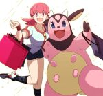 1girl :d bag bangs buttons collarbone commentary_request eyebrows_visible_through_hair eyelashes gen_2_pokemon gym_leader hand_up highres leg_up long_hair looking_at_viewer miltank morio_(poke_orio) open_mouth pink_bag pink_eyes pink_hair pokemon pokemon_(creature) pokemon_(game) pokemon_hgss shoes short_sleeves shorts smile socks striped striped_legwear twintails white_footwear whitney_(pokemon) wristband